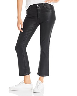 PAIGE - Colette Cropped Flared Jeans in Black Fog Luxe Coating - 100% Exclusive