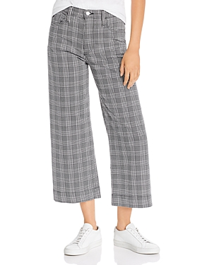 Ag Etta Cropped Wide-Leg Jeans in Black/White Houndstooth