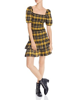 AQUA - Puff-Sleeve Plaid Smocked Top & Flannel Skirt - 100% Exclusives