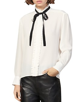 Sandro - Hanni Silk Tie-Neck Blouse