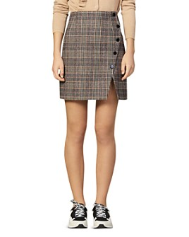 Sandro - Nona Plaid Mini Pencil Skirt