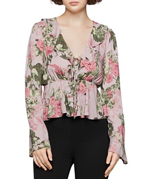 BCBGENERATION - Ruffled Rose Print Top