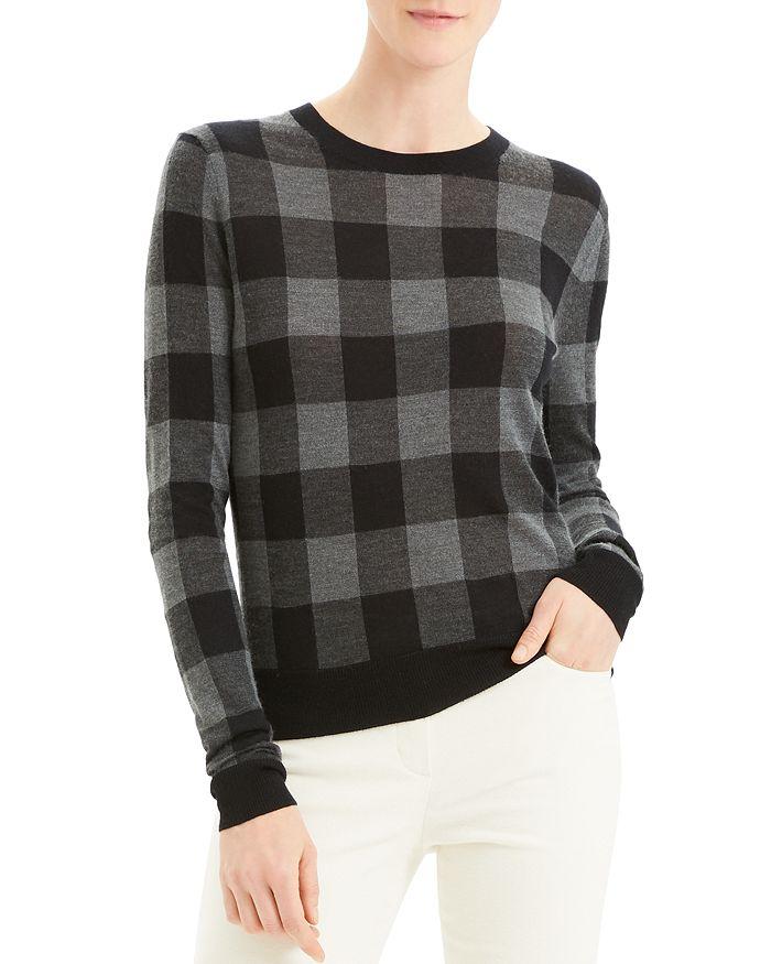 Theory - Silk, Cashmere & Wool Buffalo Plaid Crewneck Sweater