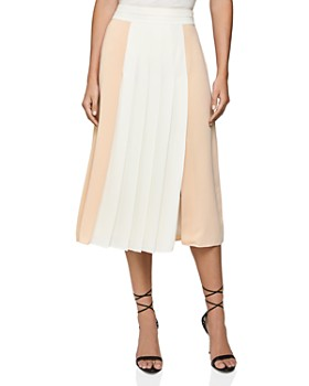 REISS - Abigail Color-Blocked Pleated Midi Skirt