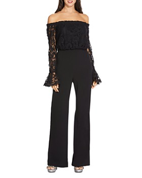 Adrianna Papell - Lace & Crêpe Wide-Leg Jumpsuit