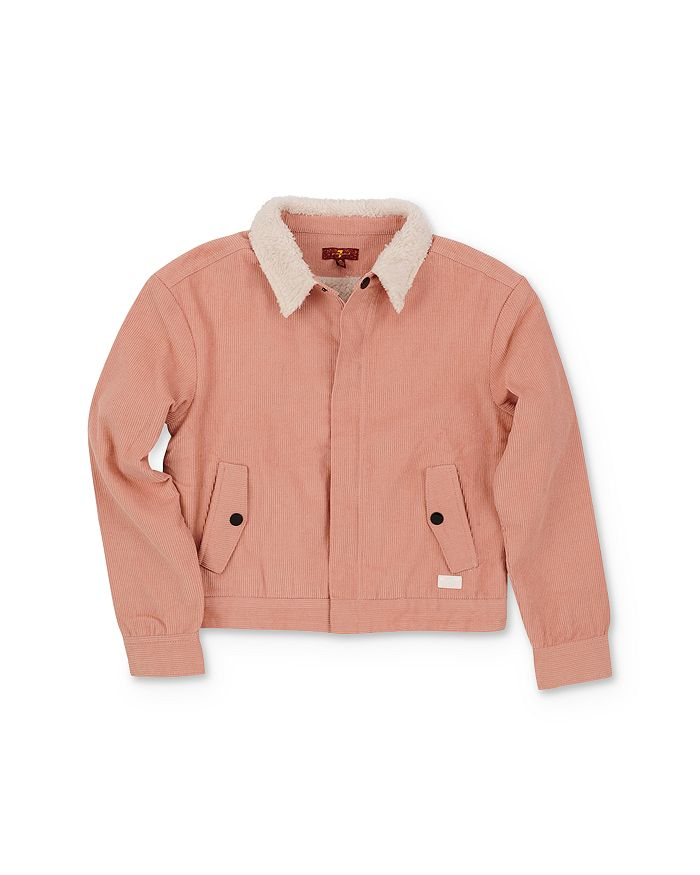 7 For All Mankind Girls' Sherpa & Corduroy Jacket - Little Kid In Pink