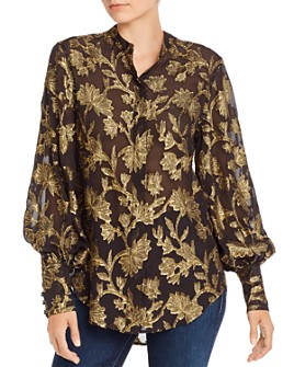 Equipment - Boleyn Silk-Blend Metallic Embroidered Top
