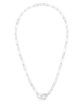 """Dinh Van - 18K White Gold Menottes Chain Link Necklace with Diamonds, 17.3"""""""