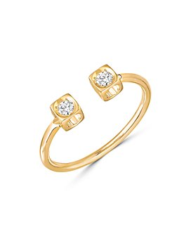 Dinh Van - 18K Yellow Gold Le Cube Diamant Open Ring with Diamonds