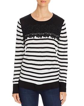 KARL LAGERFELD Paris - Striped Lace-Trim Sweater