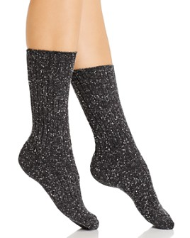 HUE - Tweed Ribbed Boot Socks