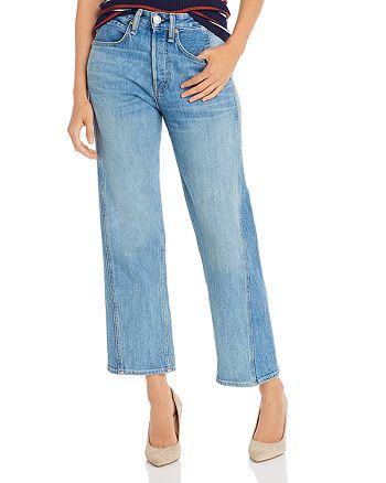 rag & bone - Maya High-Rise Two-Tone Ankle Straight-Leg Jeans in Clean Sonny