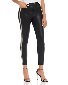 7 For All Mankind - High-Waisted Ankle Skinny Sidestripe Jeans in B(air) Black Coated