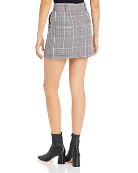 AQUA - Belted Plaid Mini Skirt - 100% Exclusive