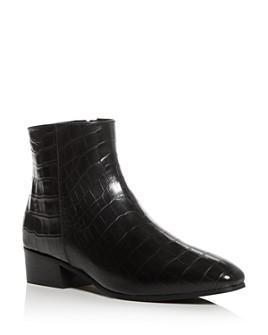 Aquatalia - Women's Fuoco Croc-Embossed Square-Toe Booties