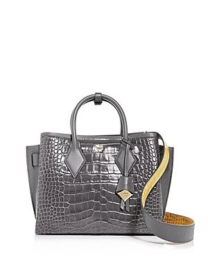 Mcm Neo Milla Medium Croc-Embossed Leather Tote
