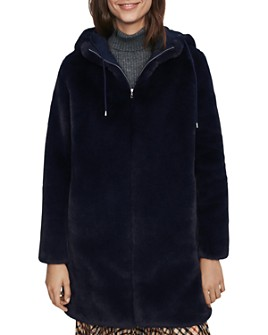 Maje - Bayalou Hooded Faux-Fur Coat