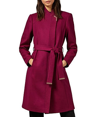 Ted Baker Ellgenic Long Belted Coat In Deep Pink
