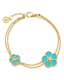 Roberto Coin - 18K Yellow Gold Daisy Diamond & Turquoise Bracelet - 100% Exclusive