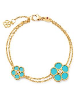 Roberto Coin - 18K Yellow Gold Daisy Diamond & Turquoise Bracelet - 100% Exclusive