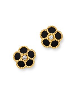 Roberto Coin - 18K Yellow Gold Daisy Diamond & Black Onyx Stud Earrings - 100% Exclusive