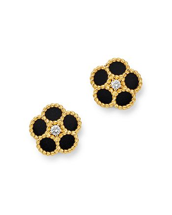 Roberto Coin - 18K Yellow Gold Daisy Diamond & Black Onyx Stud Earrings - 100% Exclusive