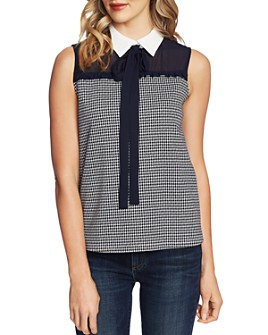 CeCe - Sleeveless Sheer-Yoke Blouse