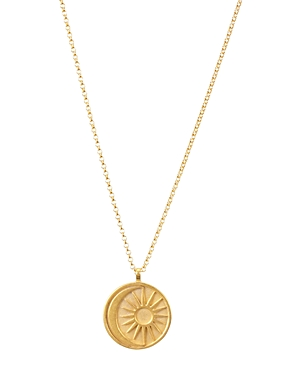 Dogeared Sun & Moon Medallion Necklace in 14K Gold-Plated Sterling Silver, 20