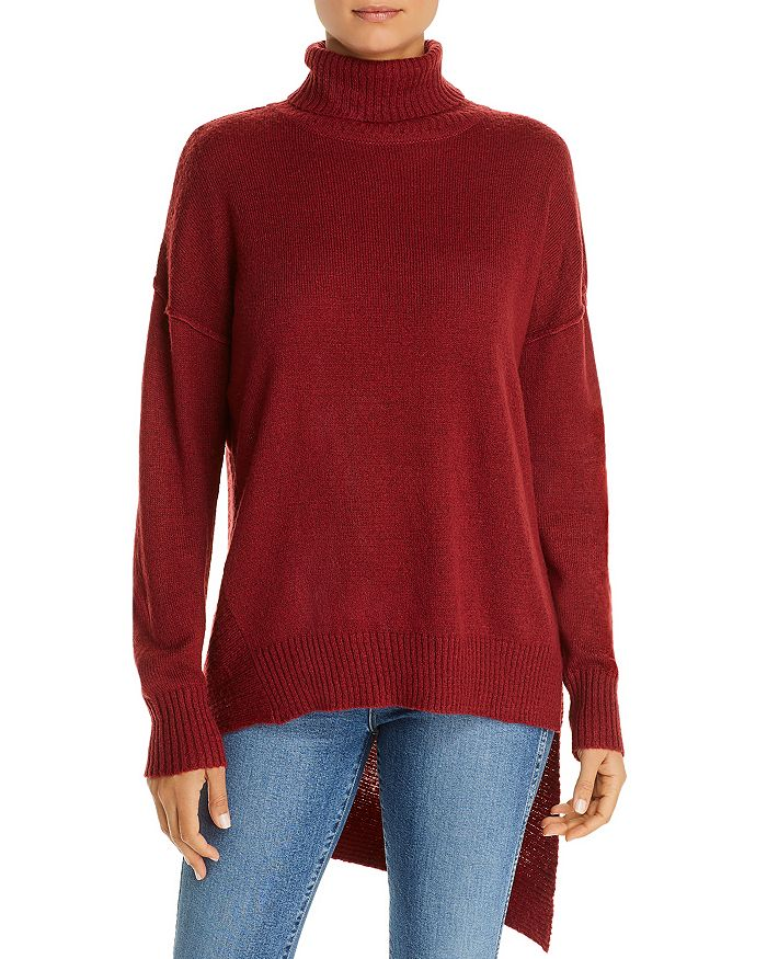 Alison Andrews High/low Turtleneck Sweater In Spiced Cinnamon