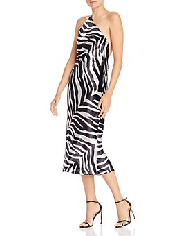Michelle Mason - One-Shoulder Zebra-Printed Velvet Midi Dress