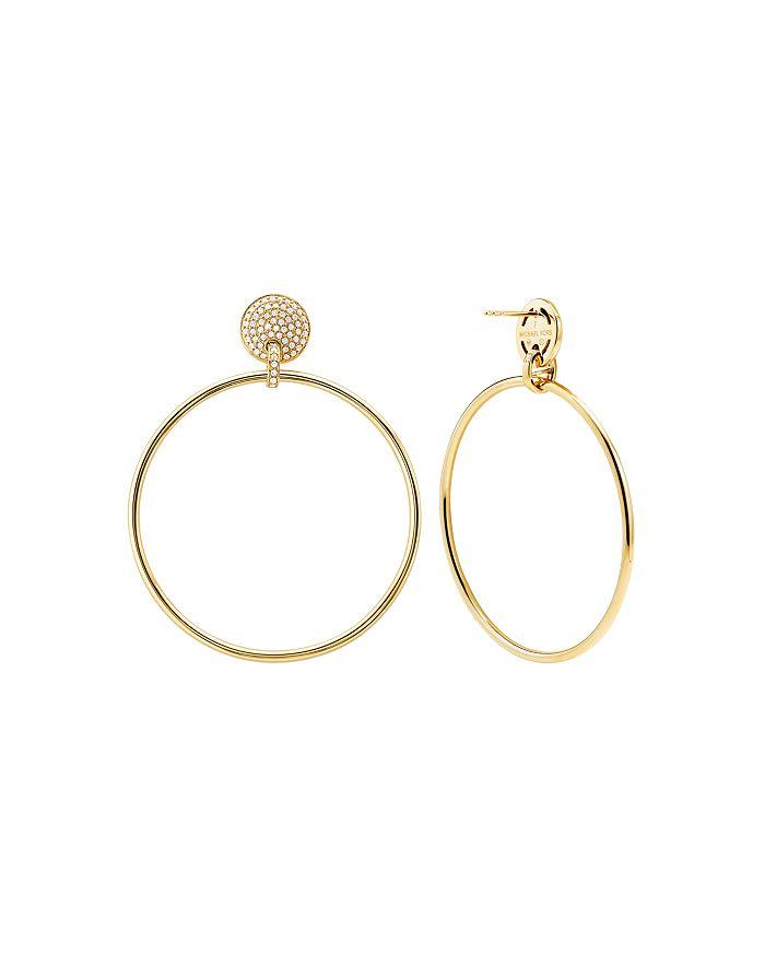 Michael Kors - Frontal Large Hoop Earrings in 14K Gold-Plated Sterling Silver or Black Ruthenium-Plated Sterling Silver