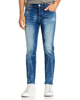 True Religion - Rocco Moto Super Stretch Skinny Fit Jeans in Blue