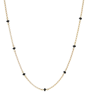 David Yurman 18K Yellow Gold Cable Collectibles Bead & Chain Necklace with Black Spinel, 36