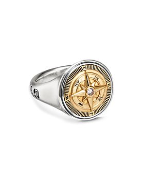 David Yurman - Sterling Silver & 18K Yellow Gold Maritime Compass Signet Ring with Diamond