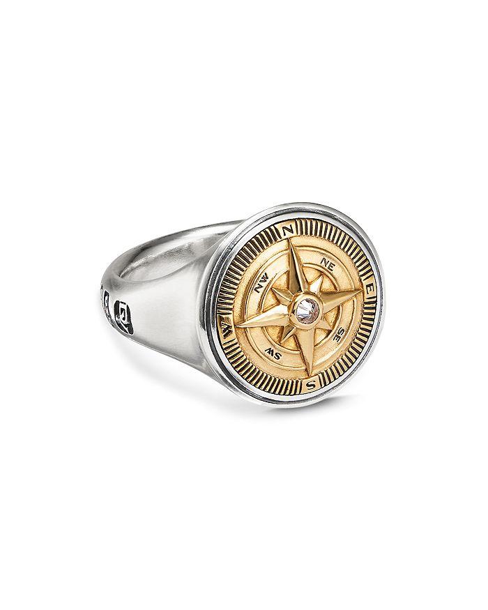 David Yurman - Sterling Silver & 18K Yellow Gold Maritime Compass Signet Ring with Diamond
