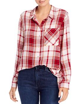 AQUA - Long-Sleeve Plaid Button-Down Shirt - 100% Exclusive