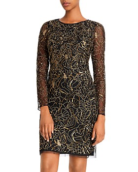 Aidan Mattox - Embellished Floral Metallic Cocktail Dress - 100% Exclusive