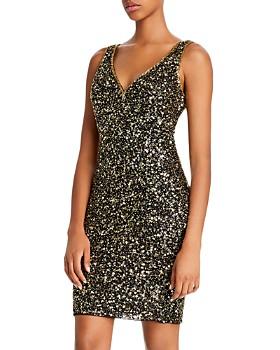 Mac Duggal - Sequin V-Back Mini Dress - 100% Exclusive