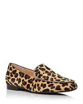 COACH - Women's Harper Studded Leopard-Print Calf Hair Loafers