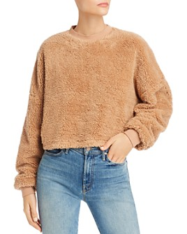 Bardot - Cropped Teddy Faux-Fur Sweater