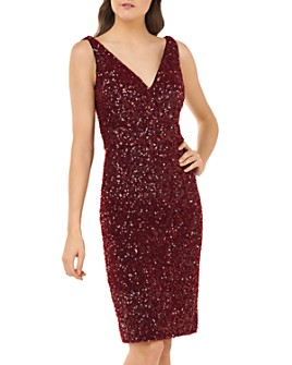 Carmen Marc Valvo Infusion - Sequin V-Neck Cocktail Dress