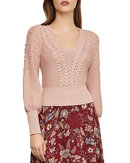 BCBGMAXAZRIA - Bishop-Sleeve Cable Sweater