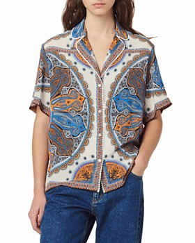 Sandro - Joya Bandana-Print Pajama-Style Top
