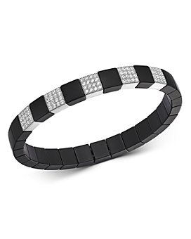 Roberto Demeglio - 18K White Gold & Matte Black Ceramic Scacco Stretch Bracelet with Diamond Stations, 0.85 ct. t.w.