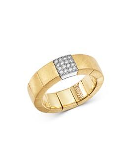 Roberto Demeglio - 18K Yellow & White Gold Scacco Stretch Ring with Diamond Station