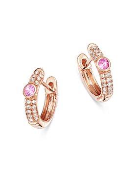 Meira T - 14K Rose Gold Pink Sapphire & Diamond Huggie Hoop Earrings