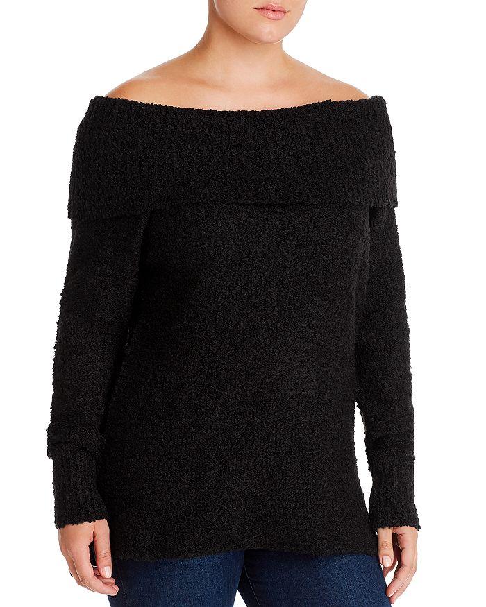 AQUA Curve - Off-the-Shoulder Bouclé Sweater - 100% Exclusive