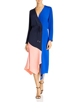 Cushnie - Color-Blocked Silk Midi Dress