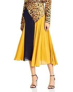 Cushnie - Color-Blocked & Leopard-Print Silk Midi Skirt