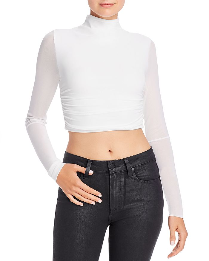 Tiger Mist - Stella Sheer-Sleeve Cropped Top